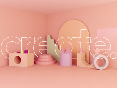 3D SCREEN DESIGN FOR CREATE. interior create creative color palette colorful shapes shape vray3d coronarender minilalist 3d poster minimal vray 3ds max 3dsmax 3d modeling 3d art 3d artist 3d animation 3d