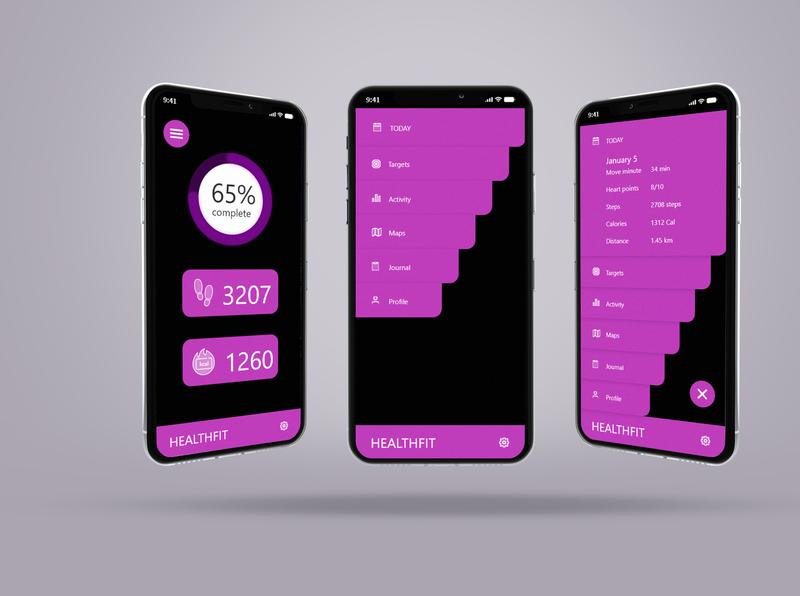 Health Fit mobile app branding website web logo ux app ui typography letterhead 99designs animation design