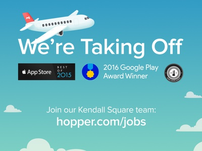 We're Taking Off product app android ios mobile travel hiring print job