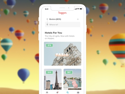 Discover on Hopper hopper bunny design product mobile ios travel hotels flights sketch ui