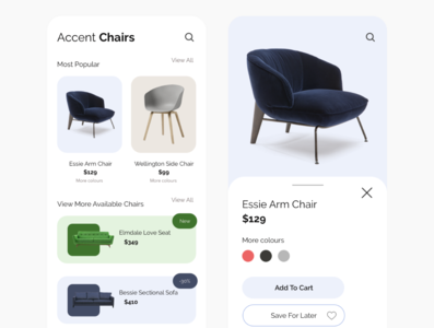 Furniture App ux app ui design minimal flat