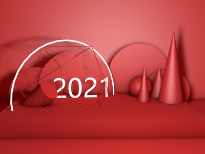 2021 new year c4d 3d design color shape visual graphic 2021 red