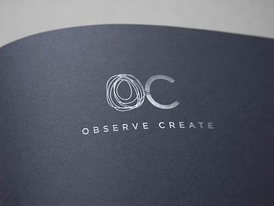 OBSERVE CREATE Logo minimalism pentool illustration embossing observe create navyblue silver emboss mark print designparlor brand logo branding