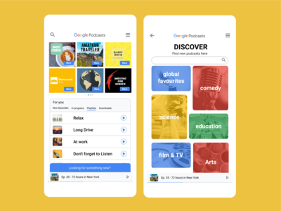 Google Podcasts UI Discover Feature