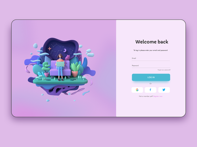 Welcome back welcome screen uxui ui ux webdesign concepts figma concept sign in