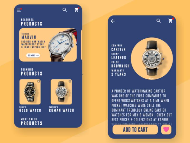 Watch Shopping App UI Design watch app design ui interface