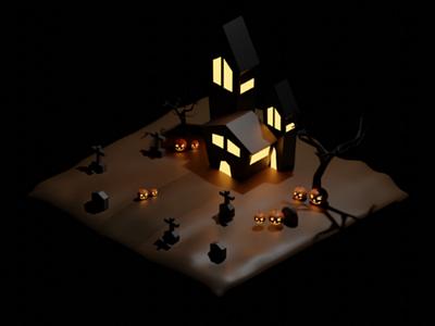 Isometric 3D Halloween modelling rendering blender 3d halloween isometric