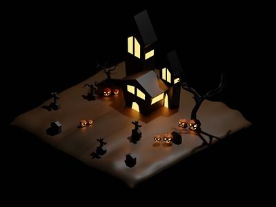 Isometric Halloween 3d art isometric 3d halloween design 3disometric rendering modeling blender isometric 3d