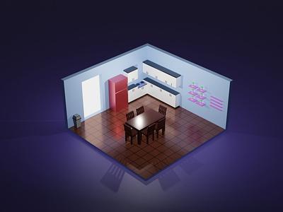 Isometric Kitchen illustration 3d art isometric 3d design 3disometric rendering modeling blender isometric 3d