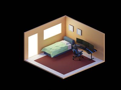 isometrik Gaming Room responsive gaming room illustration 3disometric 3d art isometric 3d design rendering modeling blender isometric 3d