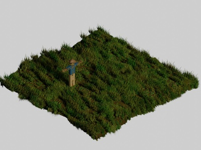 Isometric Scarecrow and Grass grass scarecrow modelling 3disometric 3d art modeling isometric 3d design rendering isometric blender 3d