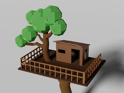 3D Isometric tree house lowpoly lowpoly3d 3dartist house tree 3dartwork 3dart modeling illustration isometric 3d 3disometric rendering isometric design blender 3d