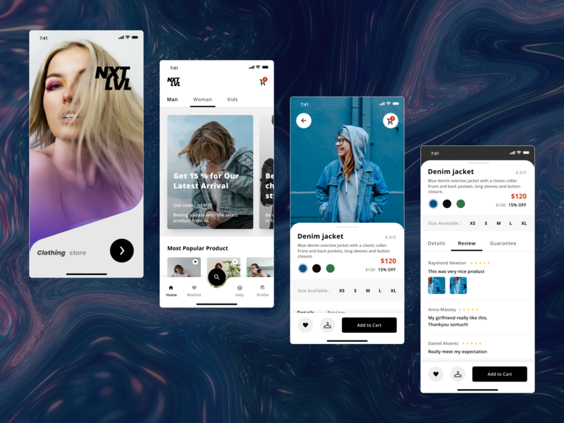 NxtLvl - clothing store typography minimal ui logo ux branding сайт app ul ux design