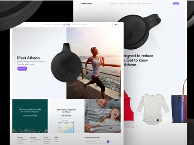 ROAR Landing + Athena product page lifestyle jewelry fashion safety device iot ios app wearables roar for good