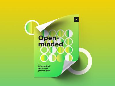 CX Principles #2 warm graphic design principles poster bright green colors gradient
