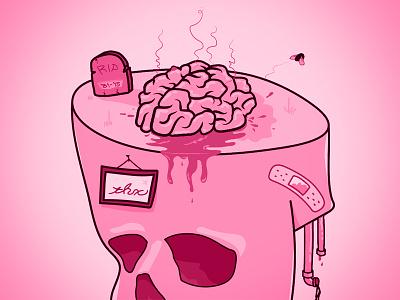Dribbble Firstshot fly grave tombstone skull brain illustration poster debut