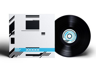 Xxxxx cyan record cd abstract geometric packaging cover album