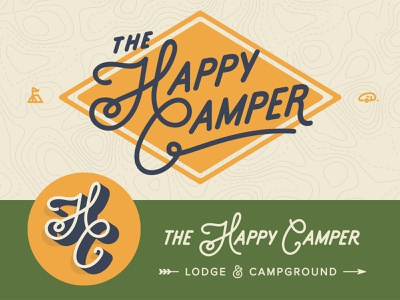 The Happy Camper Brand Elements lodge campground camping camp typography logo identity branding