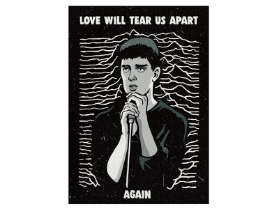 Music poster - Ian Curtis (Joy Division) music poster music blackandwhite joy division 80s vintage illustration vintage inspired retro illustration illustration