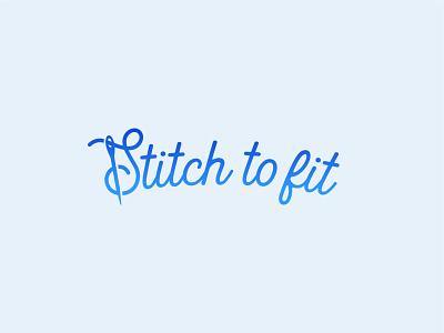 Stitch to fit script clothing needle thress seamstress branding brand identity logo