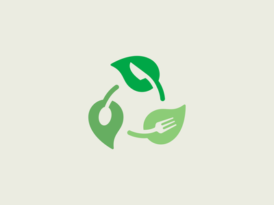 Leaf + Recycle + Food recycled recycle nature bio eco food leaf illustration branding brand identity logo