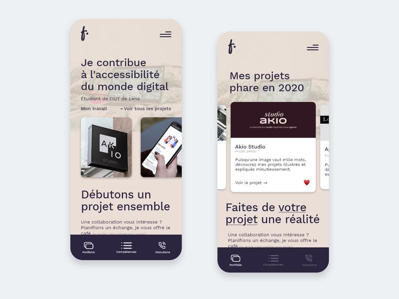 Mobile Personal Portfolio webdesign uxdesign ux ui design user inteface ui ios designer design mobile design mobile ui light mode mobile
