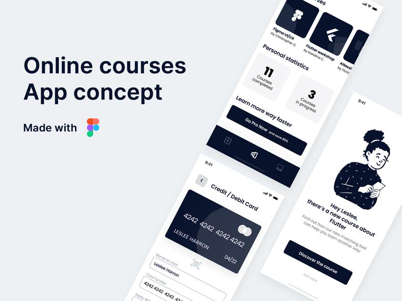 Online Courses Mobile App UI + Free Download ui ios app design ios app design app dailyui app uxdesign ux ui design mobile ui mobile design mobile ios light mode designer design