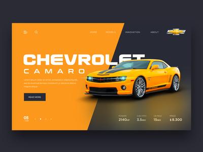 Web Design for Chevrolet Camaro web store store orange sports car chevrolet landingpage webdesign uidesign uxui uiux ui