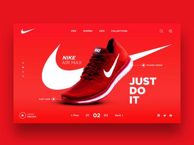 Web Design for Nike Shoes store justdoit speed designs creative airmax red sport fashion nike shoes nike landingpage ui design webdesign uiux