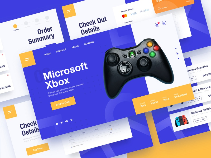 Web Page - Shop Gaming Device mobile ui yellow blue games device console nintendo switch xbox ps4 store ux shop dailyui ui design gaming website creative uiux landingpage ui webdesign
