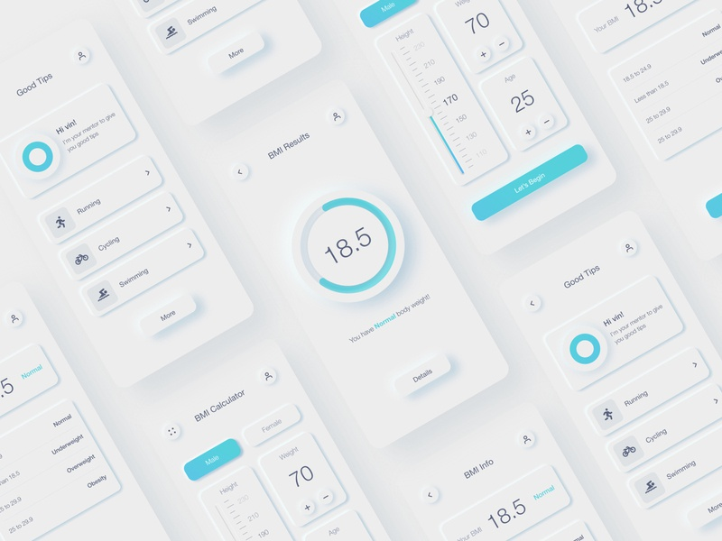 BMI Calculator App - Neumorphism design skeuomorphic skeuomorphism neumorphic neumorphism 2020 trends dailyui mobile design mobile app mobile ui ux ui weight height health age calculate calculator app calculator bmi