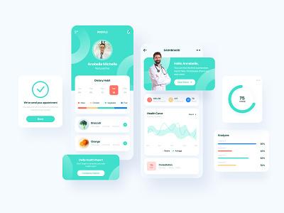 Healthcare App - Dashboard ios interface dashboard healthy healthcare medical app covid-19 mobile app design mobile app mobile mobile ui app design dailyui ui design design ux ui
