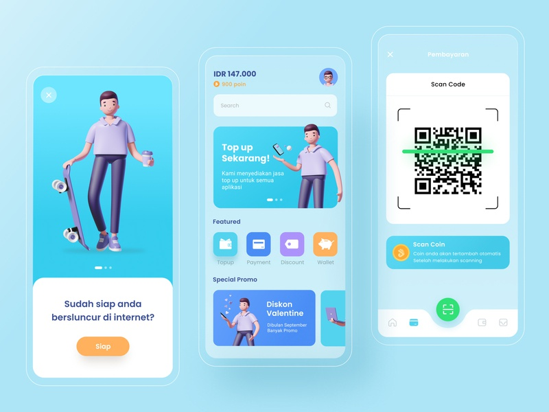 Mobile App - Digital Wallet 3d Concept wallet payment barcode bank 3d illustration app mobile topup digital wallet 2020 trends 3d ux ui design ui
