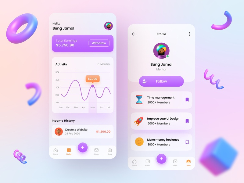 Mobile App - Education App 3d Concept learning ios ux ui education app mobile blurred background 3d 2020 trend