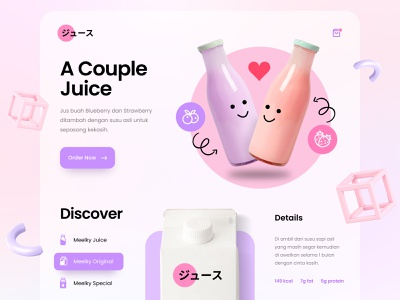 Web Design - Beverages 2020 trend blurred background webdesign website ux ui illustration 3d blueberry strawberry juice milk drink beverages