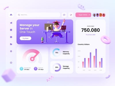 Dashboard - Web Server illustration cute blurred background website design 3d funny ux ui dashboad