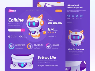 Web Design - Robot Assistant cute purple web design website promotion selling assistant robot funny landingpage illustration blurred background 3d ux ui