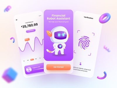 Financial App - Mobile Design ux illustration 3d funny cute blurred background ui design mobile app finance financial app