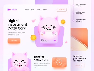 Web Design - Financial Investment landingpage orange purple funny illustration card cute cat ux ui 3d investment finance app web design web