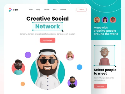 Web Design - Creative Social Network funny social network socialmedia avatar illustration design website landingpage blurred background 3d ux ui