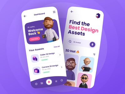 3D Design Resources - Mobile Design app marketplace resources pink purple avatar colorful cute design mobile mobile design 3d ux ui