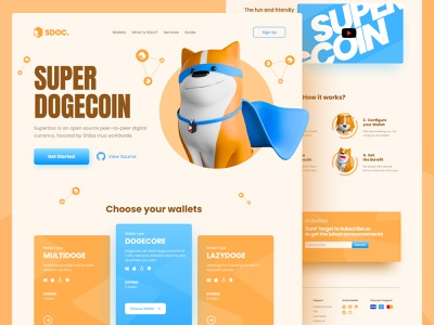 Super Dogecoin - Web Design cute dog funny design 3d blue orange blockchain superman superhero dogecoin bitcoin wallet btc bitcoin landingpage webdesign website uiux ux ui