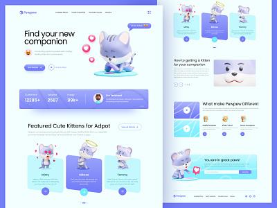 Cute Kitten Adoption - Landing Page Design with 3D animal website tosca blue purple adoption pet kitten cat cute illustration landingpage webdesign 3d ux