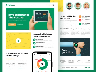 Money Investment - Landing Page currency bitcoin trader trading hand green stock money investing investment invest illustration ui design landingpage webdesign 3d ux
