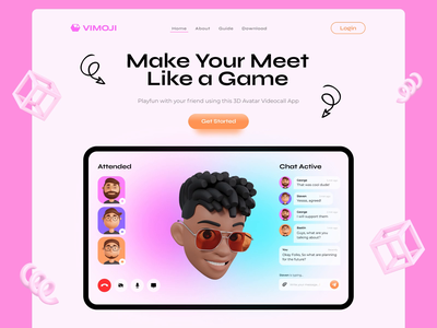 3D Video Call - Landing Page Design videocallapp zoom videocall blurred background blender pink head character design illustration landingpage webdesign ux motion graphics 3d animation