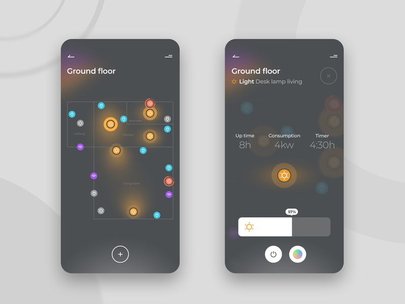 Smart home app concept ux ui design ui house intelligent grey app