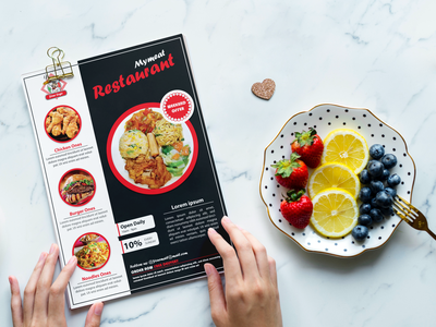 Mymeat Restaurant Offer Card menu template cardboard promotional design poster minimal graphicdesign menu card flyers design creative design branding flyer template