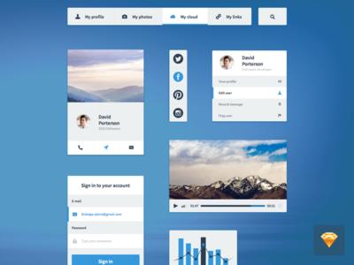 Few Sketch3 UI elements ui ux webdesign web dashboard sketch profile chat navigation riga latvia sketch 3