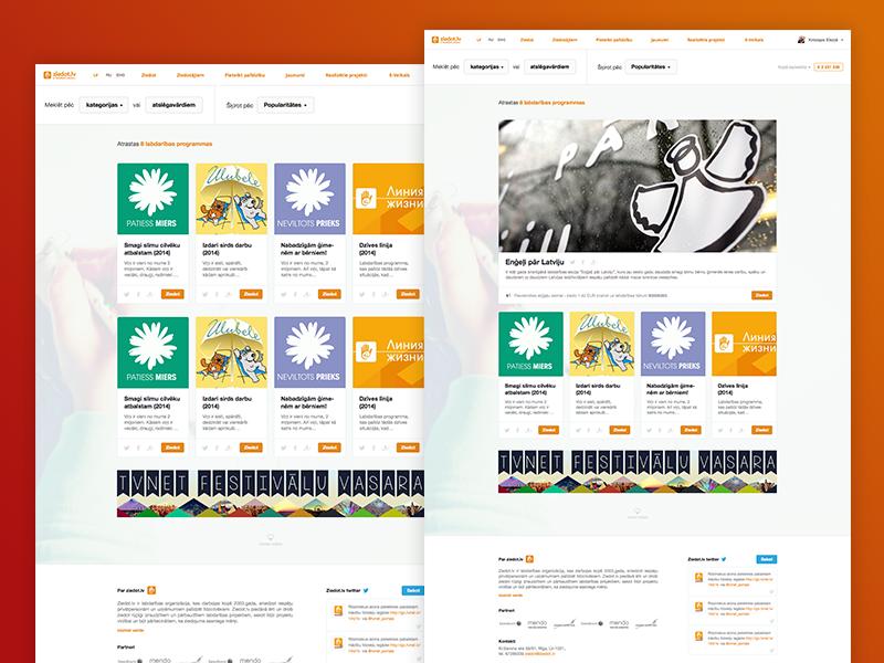 Concept for local charity website website web orange ui riga latvia