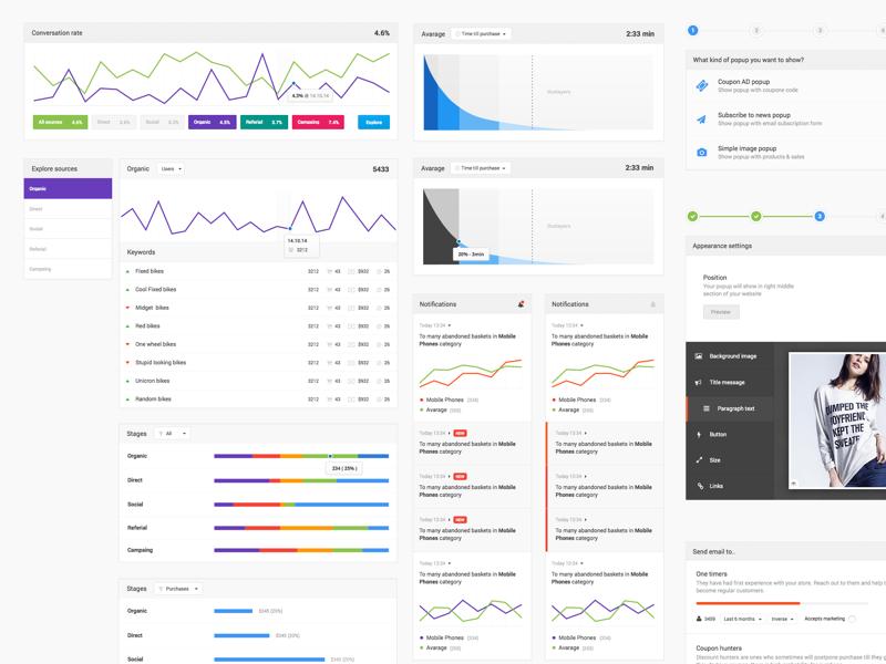 Random GUI elements for reach.ly dashboard ui web dashboard clean app builder application